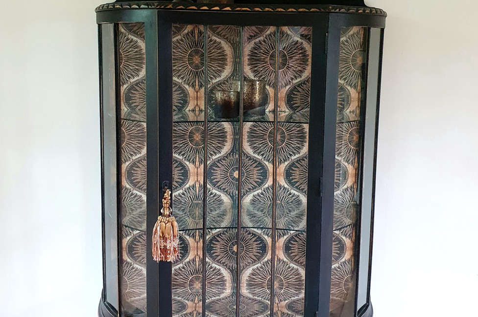 Vintage Painted Cabinet with Anna Hayman Wallpaper
