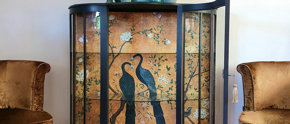 Vintage Cabinet featuring Core Edo Mural by Coordonne