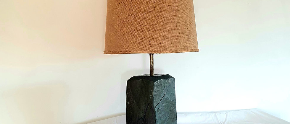 Vintage 1960's Green Slate Lamp with Hessian Shade