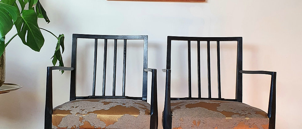 Pair of Mid Century Elbow Armchairs