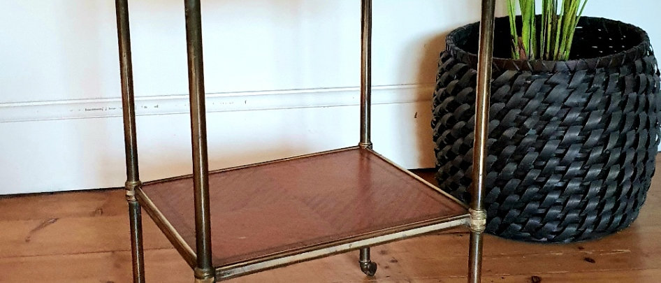 Antique Brass and Walnut Etagere