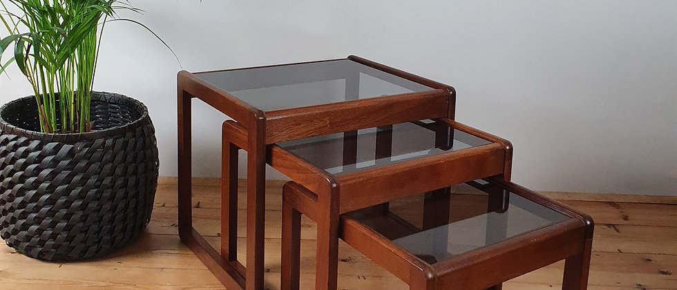 Vintage Nest of 3 Teak and Smoked Glass Tables, 1970's