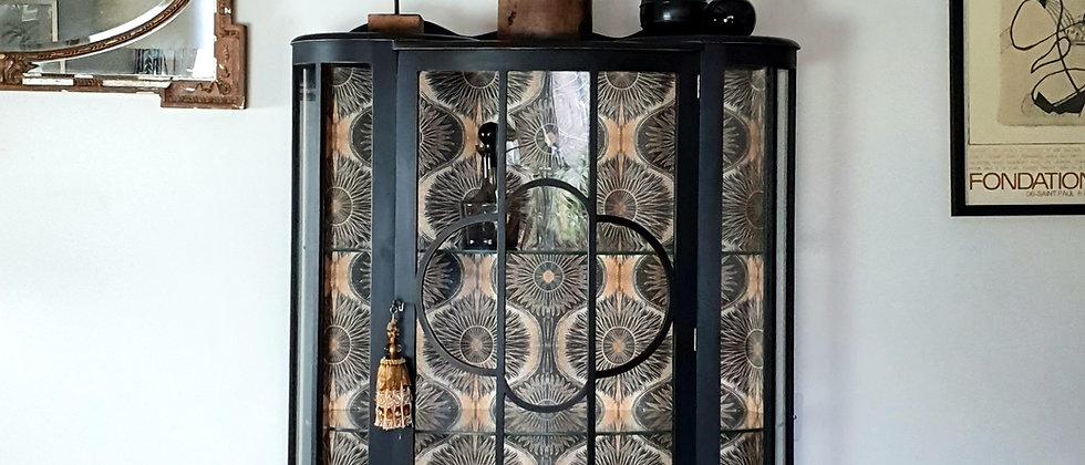 Vintage Art Deco Cabinet with Anna Hayman Biba wallpaper