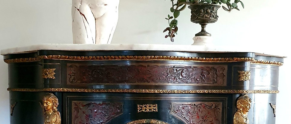 Antique Serpentine Louis XIV Style Boulle Work Credenza