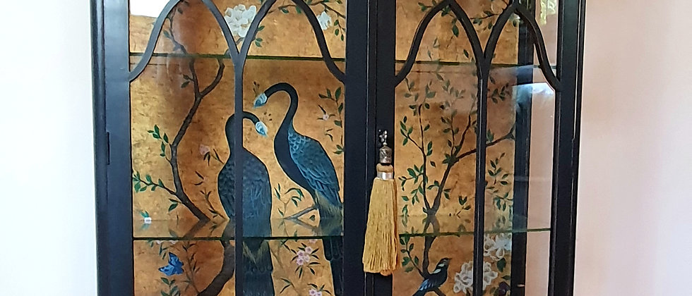 Art Deco Painted Display Cabinet With Bespoke Mural Wallpaper by Coordonne