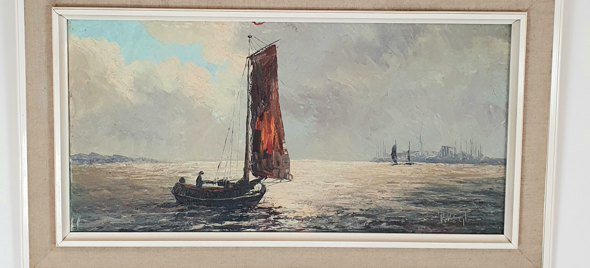 Signed Oil Painting by V Vegt
