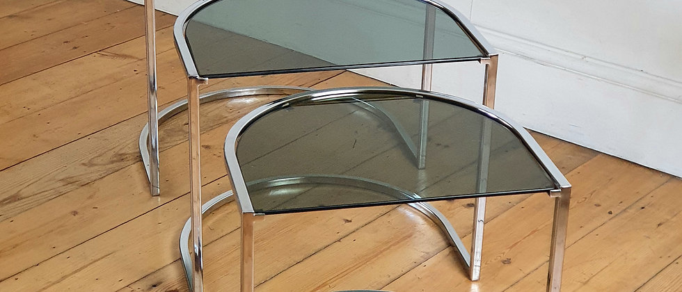 Vintage 1970's Chrome and Glass Nest of Tables