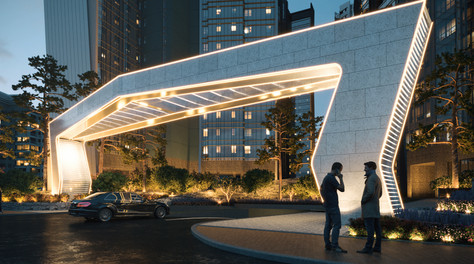 Mixed-use apartment towers Main Entrance - A snap shot from animation