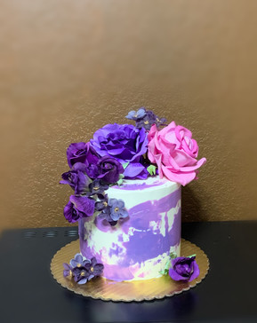 Purple and white themed Tall cake.JPG