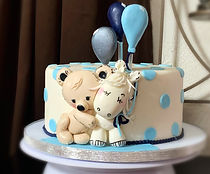 Baby Teddy Bear and Pony Baby Shower Cak