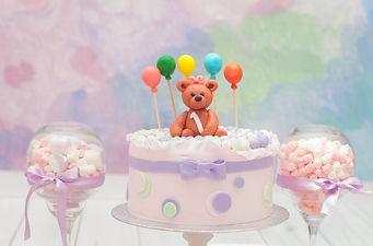 Custom Cake with Baby Teddy Bear