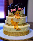 Baby Afro Puff Themed Baby Shower Cake