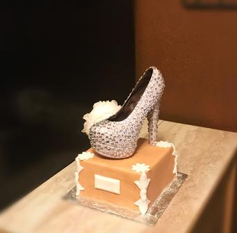Chocolate stiletto on shoe box