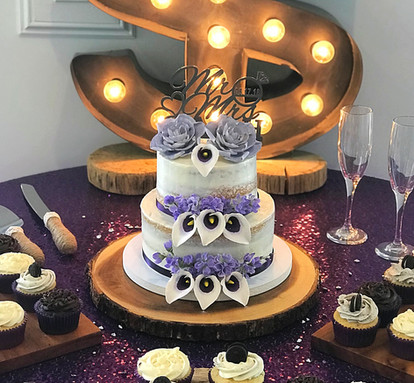 Semi Naked Wedding Cake with Calla Lilies and Gardenias