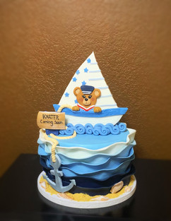 Nautical Themed Baby Teddy Bear Cake