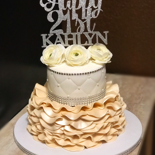 Ruffles & Quilting Tiered Cake