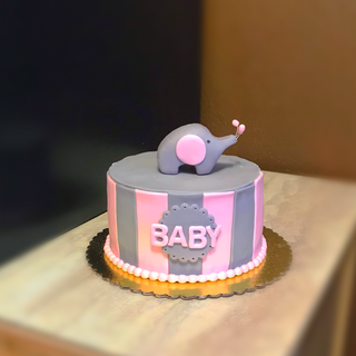 Baby Elephant Baby Girl Themed Cake
