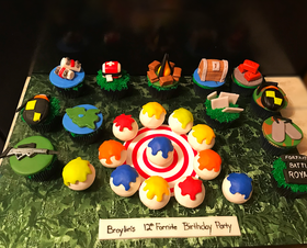 Fortnite Cupcakes and paintball inspired cake pops