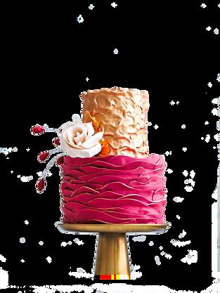 metallic gold and burgandy waves tiered cake