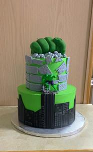 Hulk Smash themed tiered cake.JPG