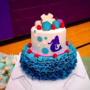 MERMAID THEMED CAKE with chocolate covered disco dust strawberries, chocolate onsie and fresh fruit