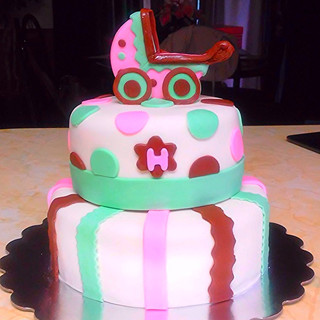 TIERED CAKE with baby carriage