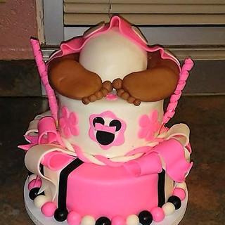 BABY BOTTOM CAKE with ribbon