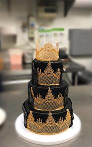 Elegant Black & Gold Tiered Cake