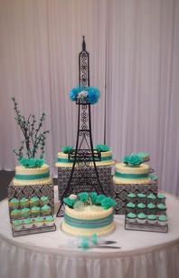 Paris Themed Wedding Cake & Cupcakes