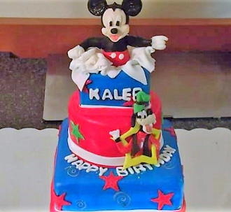TIERED MICKEY MOUSE THEMED CAKE