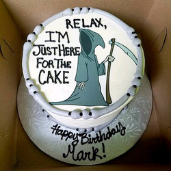 """Over the Hill"" Grim Reaper cake"