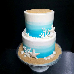 Blue and white ombre beach cake