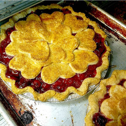 Cherry pie with hearts