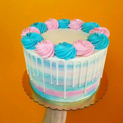 Blue and pink watercolor drip cake