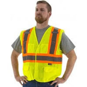 High Visibility Mesh Vest with DOT Striping ANSI Class 2
