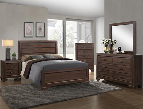 7Pc. Chocolate and Black Wood Panel Bedroom Set