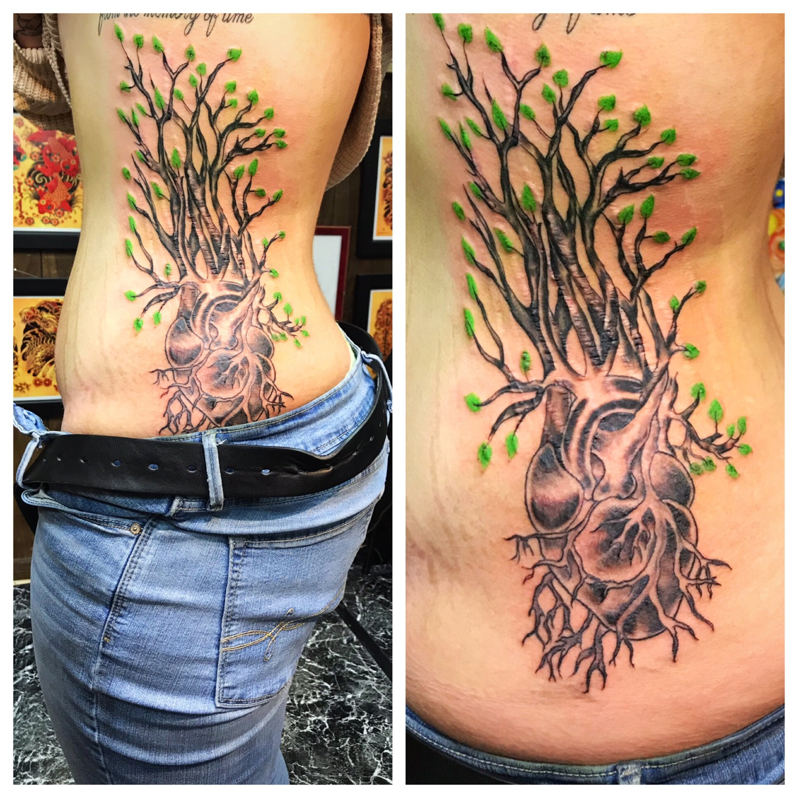 Tree of Life with Human Heart Tattoo by