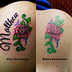 Tattoo Restoration  Rose Tattoo Before Right After Left The Red Parlour Tattoo Woodside Queens NY NY NYC Tattoo Cover Ups & Restorations-002.jpg