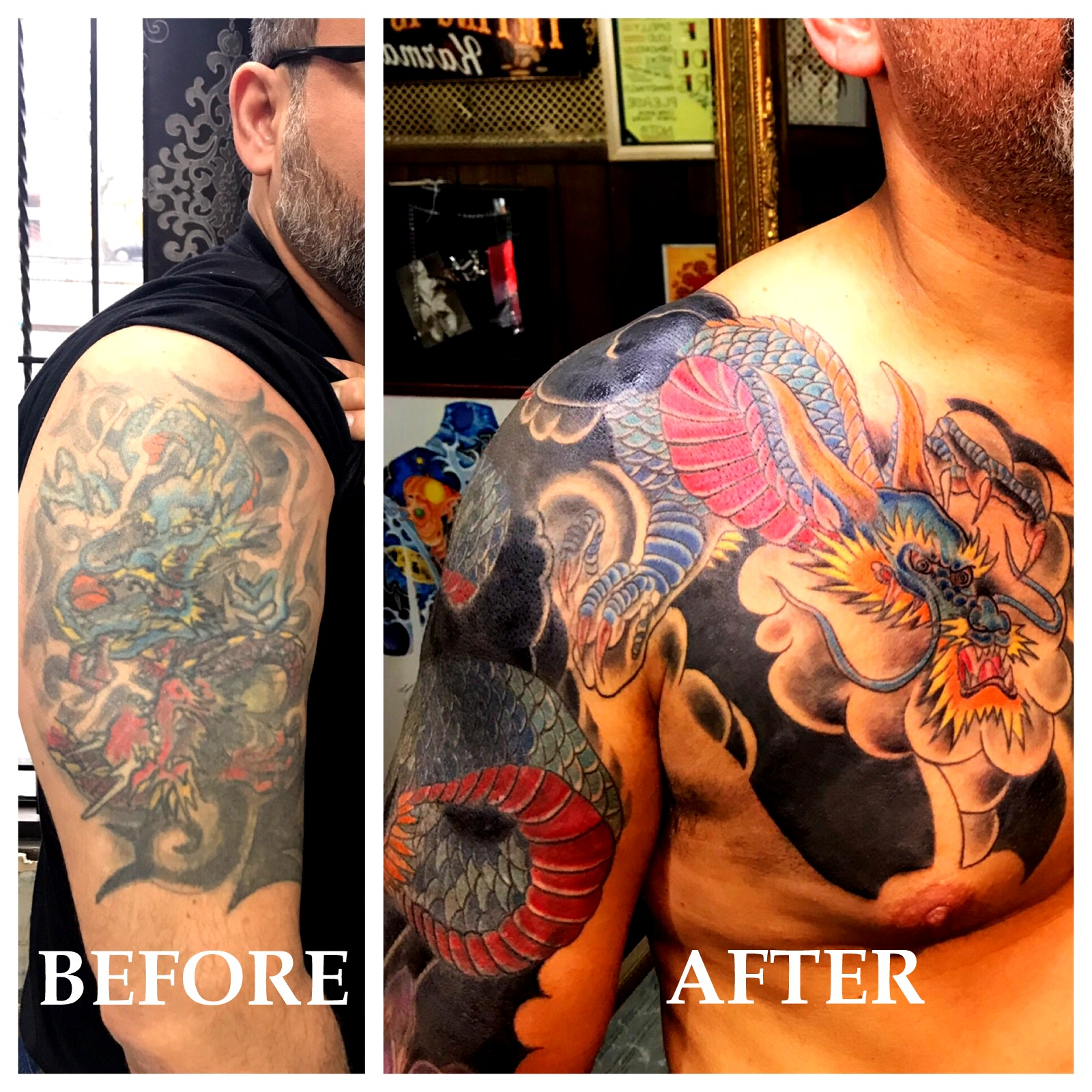 Japanese Dragon Tattoo Cover Up by The R