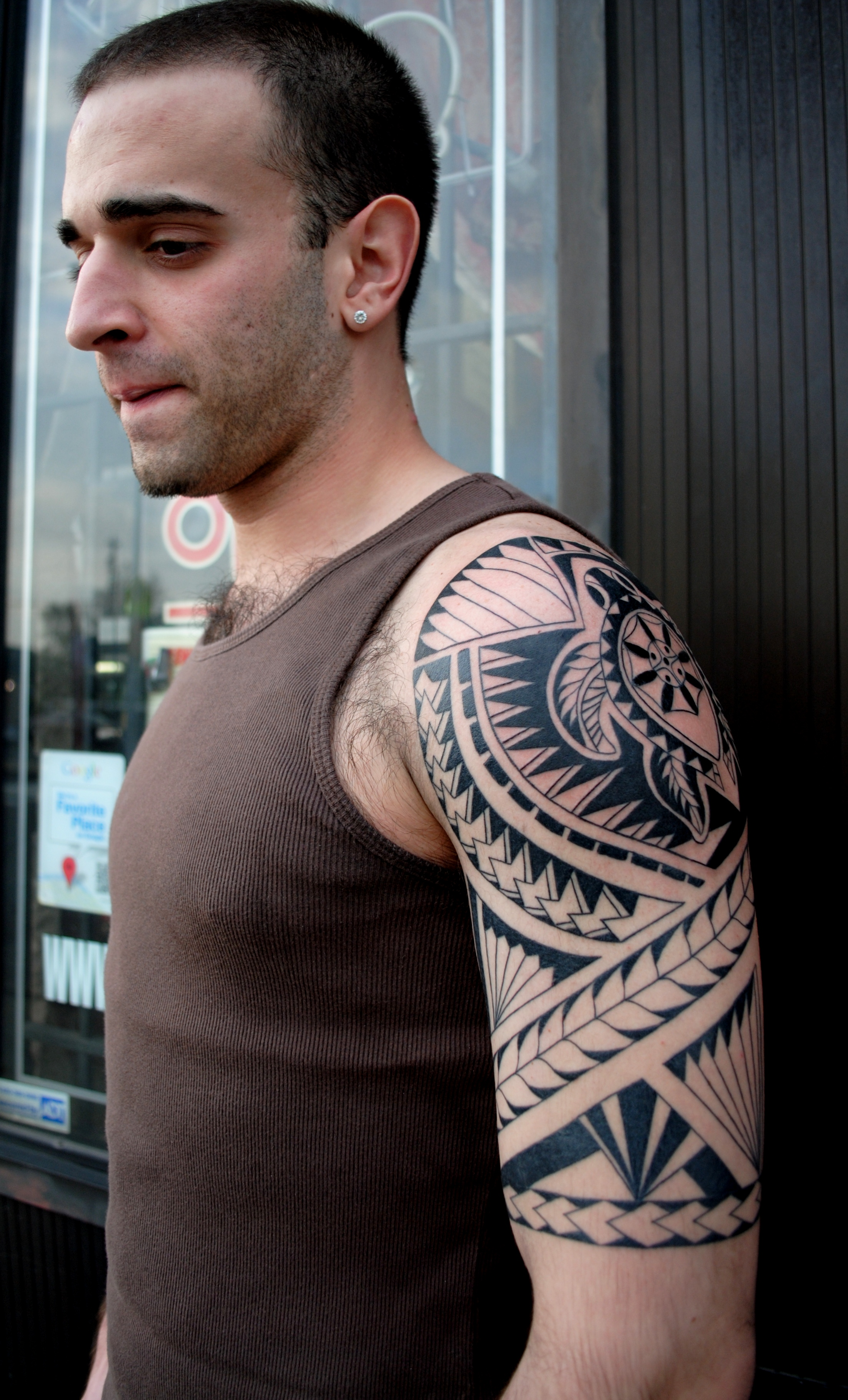 Polynesian Turtle Tattoo Half Sleeve by