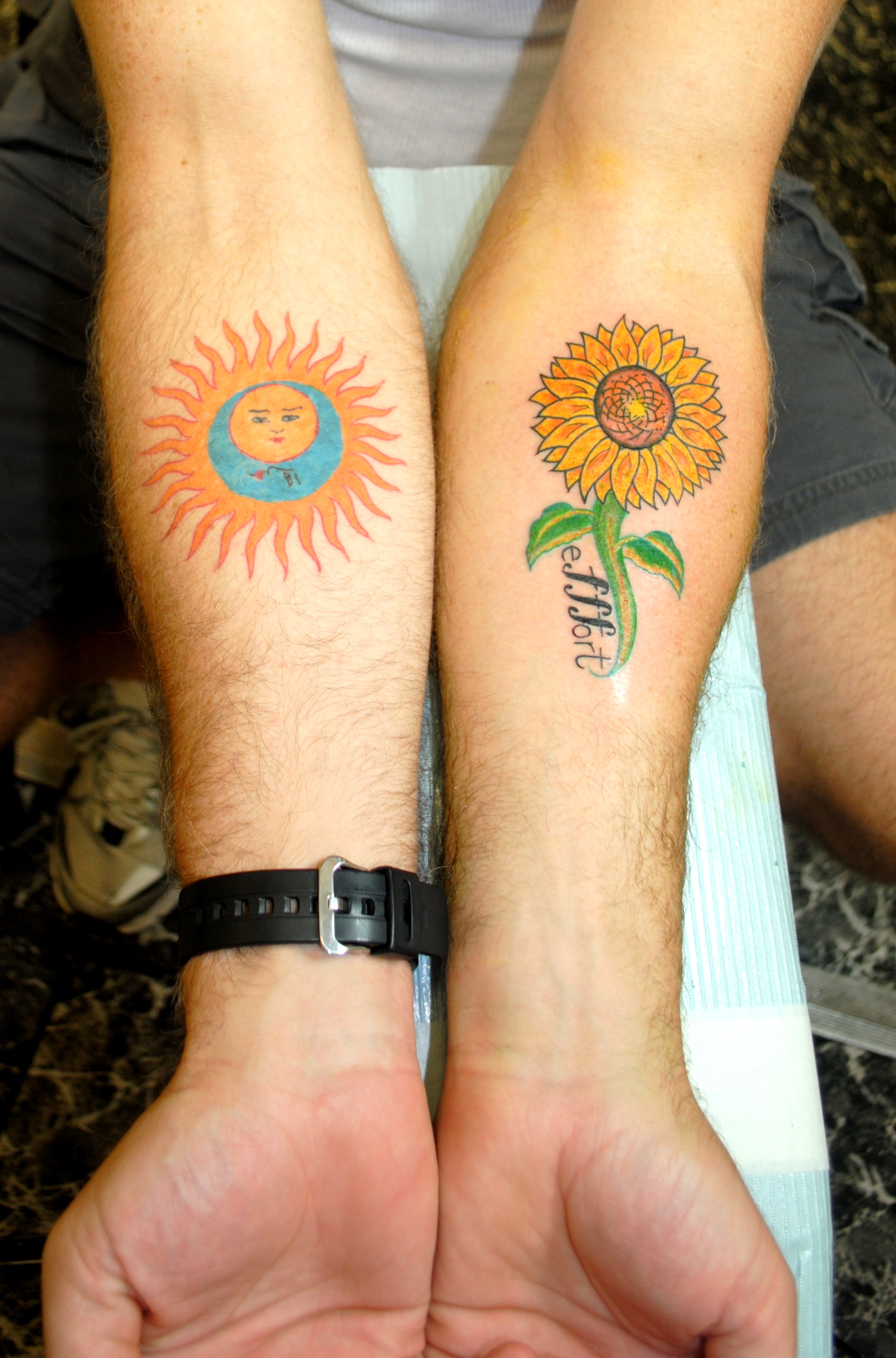 Sun & Moon Tattoo and Sunflower Tattoo b