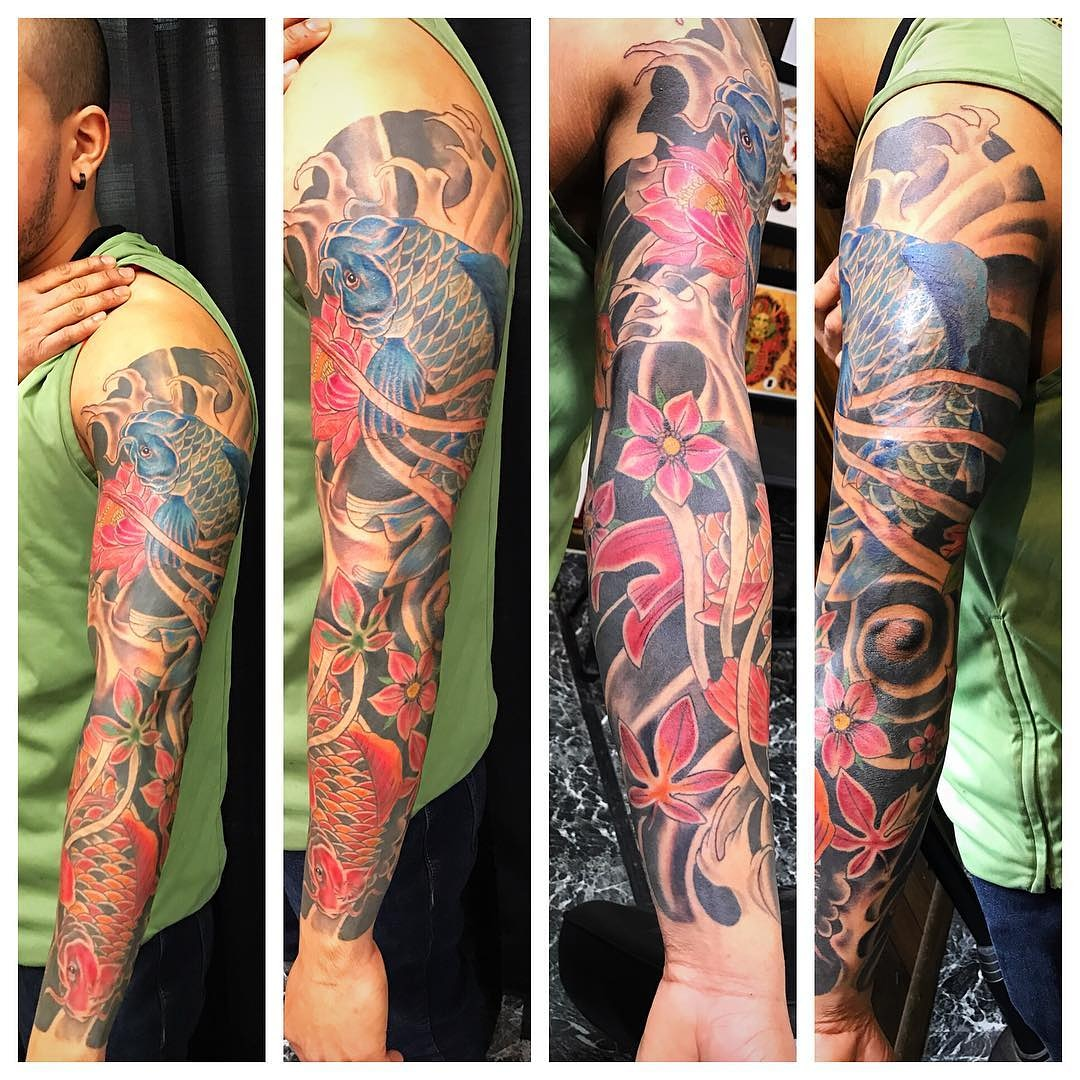 Japanese Koi Sleeve by The Red Parlour T