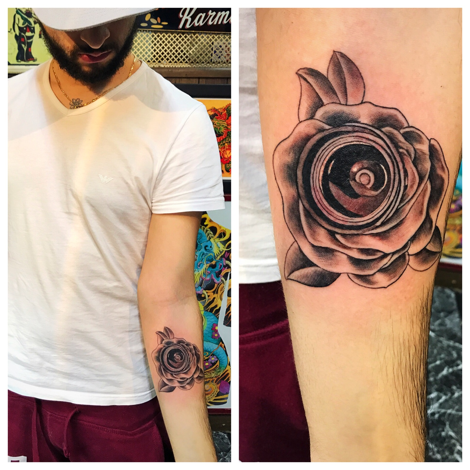 Rose Tattoo Camera Lens Tattoo by Powder