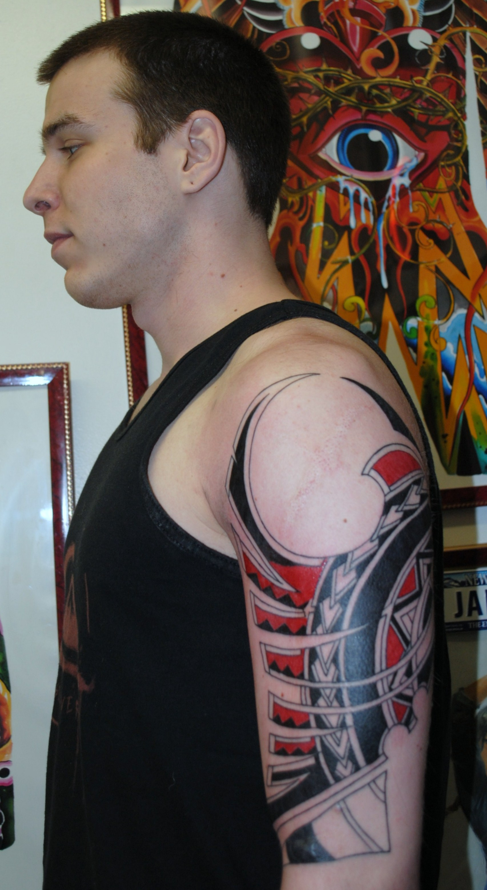 Polynesian Tattoo in Black and Red by Th