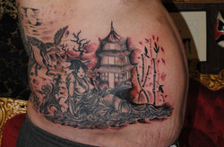 Japanese Tattoo Geisha Temple Crane by T