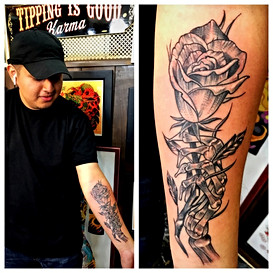 Skeleton Hand & Rose Tattoo by Powder Th