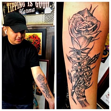 Skeleton Hand & Rose Tattoo by Powder Th