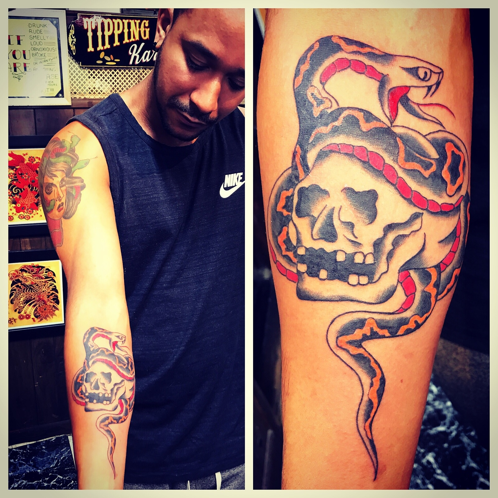 Skull and Snake Tattoo Neotradional Tatt