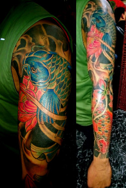 Koi Fish Sleeve Tattoo by The Red Parlou