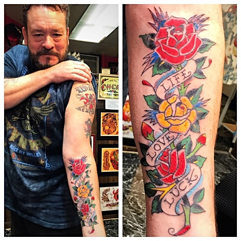 Tradional Ed Hardy Roses Tattoo by The Red  Parlour Tattoo Woodside Queens  NY NY NYC Traditional Tattoo Powder.jpg